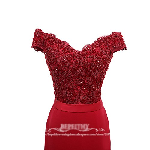 Bridesmaid Pink Mermaid Gown Off Prom Beaded Shoulder Long Evening 8 Dress DKBridal Rvq8OO