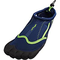 NORTY - Mens Skeletoe Aqua Water Shoes for Pool Beach, Surf, Snorkeling, Exercise Slip on Sock, Navy, Lime 38860-11D(M) US