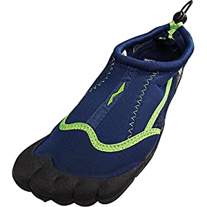 Norty - Mens Skeletoe Aqua Water Shoes for Pool Beach, Surf, Snorkeling, Exercise Slip on Sock, Navy, Lime 38860-8D(M)US