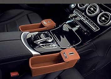 Car Seat Crevice Storage Box Grain Organizer Auto Accessories Brown