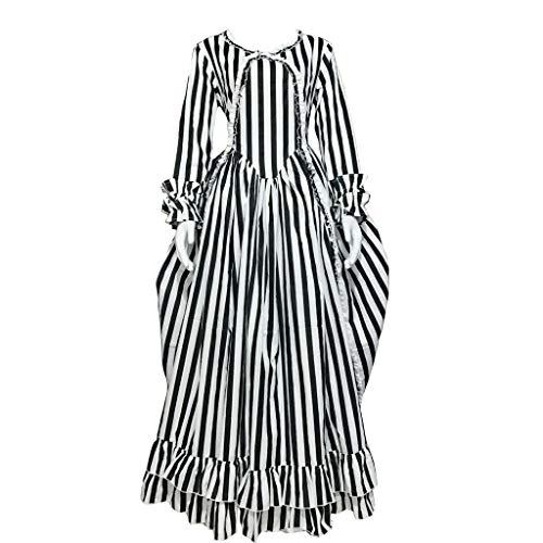 STH Sleepy Hollow Katrina Van Tassel Costume Dress Black and White Striped Dress XXL]()
