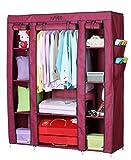 YUTIRITI Fancy Triple Door Large Maroon Portable Multipurpose Waterproof Fabric Wardrobe Closet Organizer - 53 x 18 x 64 Inch