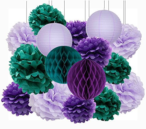 Mermaid Party Supplies//16pcs Mermaid Party Decorations Teal Purple Lavender Tissue Pom Pom Paper Lantens Honeycomb Ballls Frozen Theme Party Supplies Teal Mermaid Baby Shower Decorations Qian/'s Party