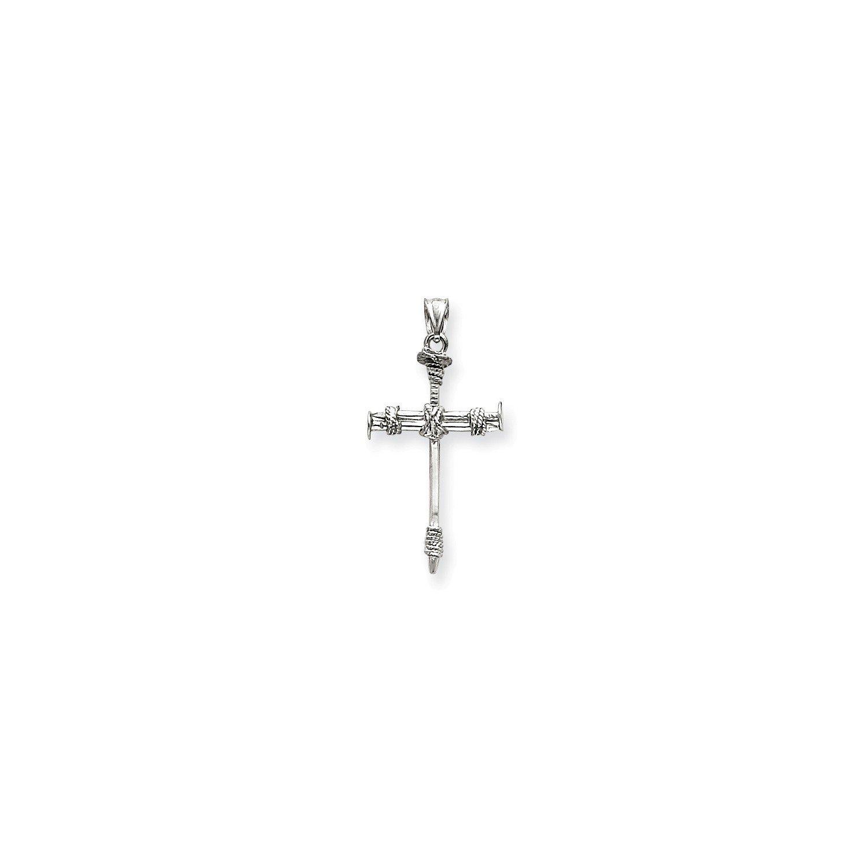 Roy Rose Jewelry 14K White Gold Nail Cross Pendant