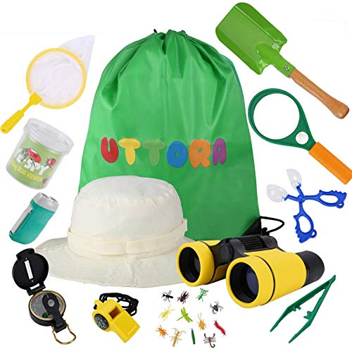 UTTORA Outdoor Explorer Kit Kids Toys,25 Pieces Birthday Present for 8+ Years Old Boys Girls Adventure STEM Backpacking Gifts Compass Binocular Camping Bug Catcher Hiking Pretend Play Fun for Kids
