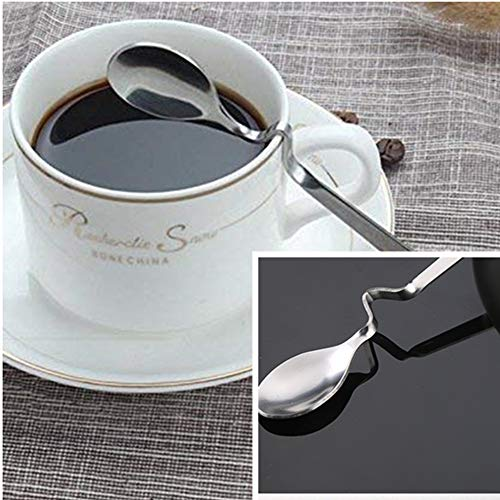 Beetoo Set of 5 Hanging S Coffee Spoon Creative Bending Handle Stainless Steel Stirring Honey Spoons for Tea Coffee Dessert