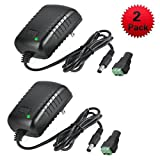 AC Adapter, YIFENG 12V 2A Switching Power Supply Adapter for 100-240V 50 60Hz with DC Connector Gift (2 Pack)