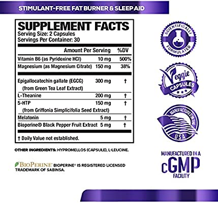 LEAN PM Night Time Fat Burner, Sleep Aid Supplement, & Appetite Suppressant for Men and Women - 60 Stimulant-Free Veggie Weight Loss Diet Pills