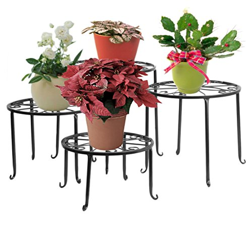 DoubleWin Round Black Iron Plant Stands, Scroll Pattern - [6, 8, 10, 12 Inch in Height], Set of 4