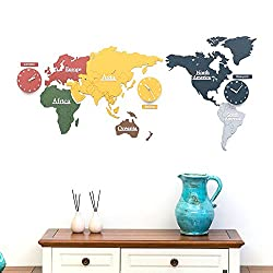 Y-Hui The World Map Wall Clock Decorative Painting No Box Office Wall Clocks ,220115Cm,3Mm Plate, Color