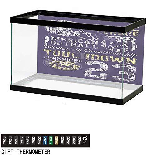 wwwhsl Aquarium Background,Sports,Retro Style American Football College Theme Illustration Athletic Championship Apparel,Purple Fish Tank Backdrop 36