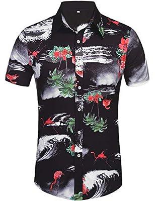 Daupanzees Men's Flamingos Flowers Shirts Aloha Printed Short Sleeve Button Down Hawaiian Shirt