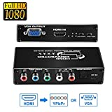 HDMI to 1080P Component VGA Scaler Converter, avedio links HDMI to VGA+ Component YPbPr 5RCA RGB Video Converter Adapter with Spdif Optical and R/L Audio Out,Support PS4, Blu-ray Player, Xbox