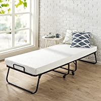 Zinus Roll Away Folding Guest Bed Frame with 4 Inch Comfort Foam Mattress, Narrow Twin / 30 x 75