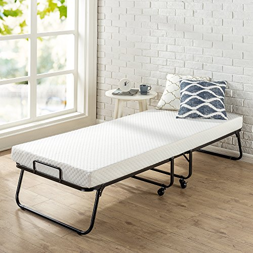 Zinus Roll Away Folding Guest Bed Frame with 4 Inch Comfort Foam Mattress, Standard Twin