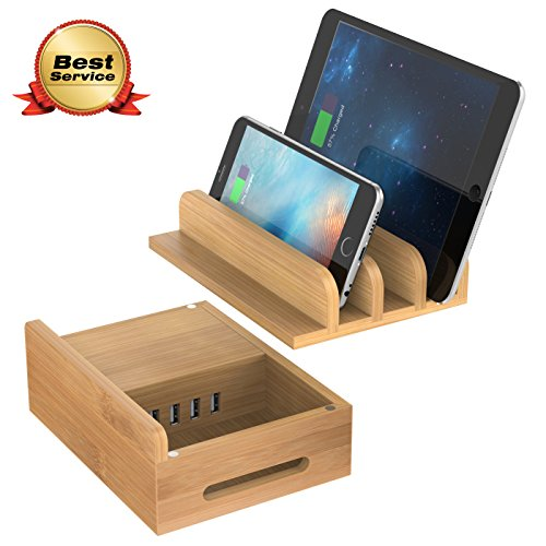 Price comparison product image MAXGADGET Bamboo Charging Station Desktop Organizer Upgrade 24W 5A 4 Ports USB Charging Station Dock for iPhone, iPad, Tablets,Kindle-Multiple USB Charger Station & Cell Phone Docking Station