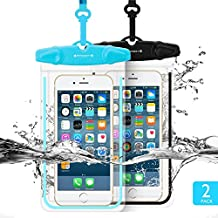 "Universal Waterproof Case FITFORT 2 Pack Universal Dry Bag/ Pouch Clear Sensitive PVC Touch Screen for iPhone X 8 7 6S Plus Galaxy S8 S7 Edge S6 S5 S4 Note 4 3 LG G5 G3 Up To 5.5 ""(Black+Blue)"