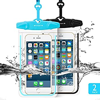 "Universal Waterproof Case, FITFORT 2 Pack Universal Dry Bag/ Pouch,for iPhone 7/6/6S Plus/5/5s/5c Galaxy S7/S7 Edge/S6/S5/S4 Note 4/3 LG G5/G3 Up To 5.5 ""(Black+Blue) …"