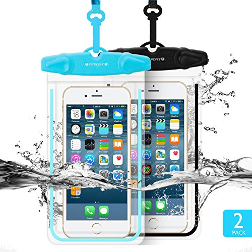 "Universal Waterproof Case FITFORT 2 Pack Universal Dry Bag/ Pouch Clear Sensitive PVC Touch Screen for iPhone 8 7 6S Plus Galaxy S8 S7 Edge S6 S5 S4 Note 4 3 LG G5 G3 Up To 5.5 ""(Black+Blue)"