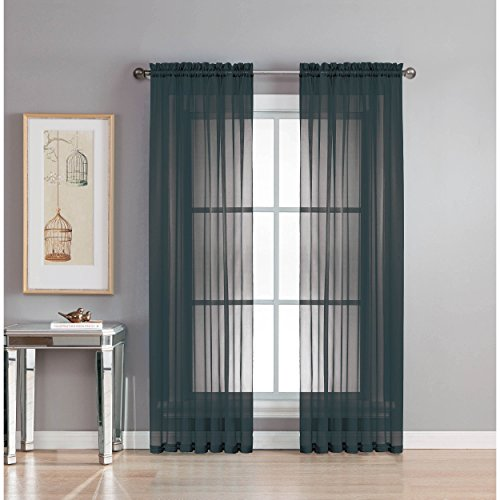 Window Elements Sheer Voile Rod Pocket Extra Wide 54 x 90 in. Curtain Panel, Black Review