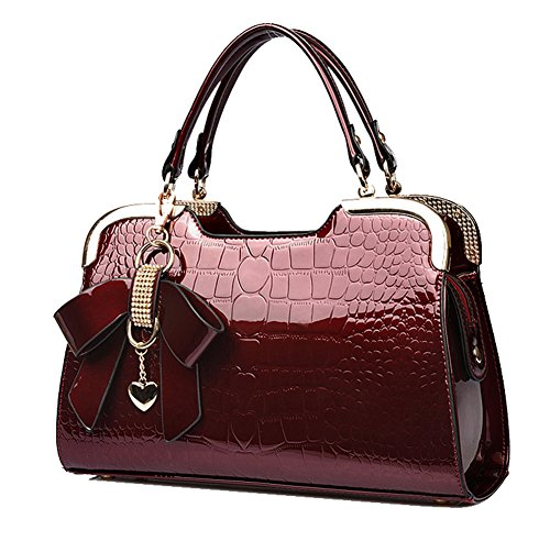 Yan Crocodile Shoulder Butterfly Show Pattern Pendant Bags Women's New Totes Leather Wine Patent Handbags Red rgnrwvqSC