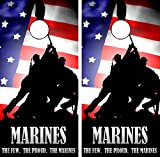 C65 Marines American Flag Cornhole Laminated Decal WRAP Set Decals Board Boards Vinyl Sticker Stickers Bean Bag Game Wraps Vinyl Graphic Tint Image Corn Hole