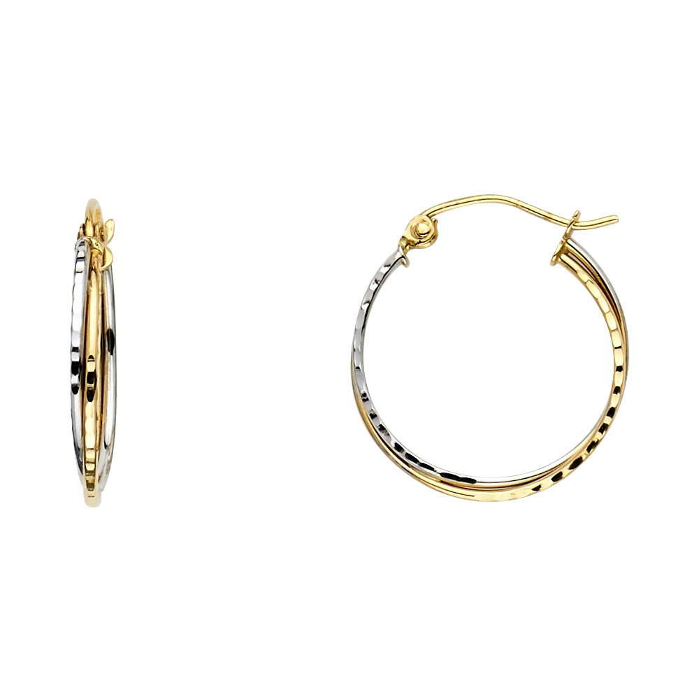 14k Two-Tone Gold 3mm Thick Diamond-Cut 2-Line Hollow Hoop Earrings 18mm Diameter