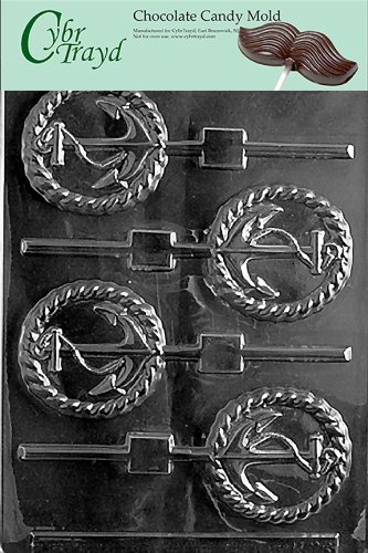 Cybrtrayd N028 Anchor Lolly Chocolate Candy Mold with Exclusive Cybrtrayd Copyrighted Chocolate Molding Instructions (Nautical Chocolate Molds)