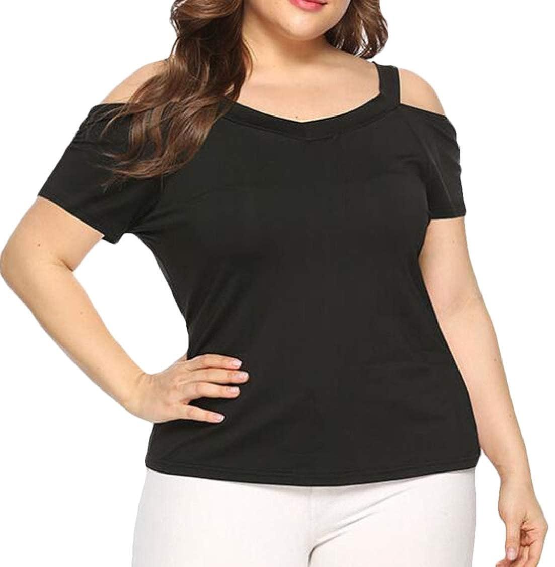 Rrive Womens Short Sleeve Plus Size V Neck Cold Shoulder Pure Color T-Shirt Tee Top