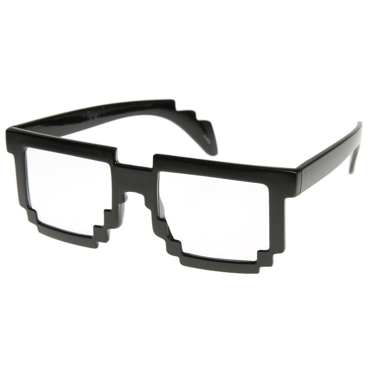 Amazon.com: zeroUV - Pixelated 8-Bit Clear Lens Computer Nerd Geek ...