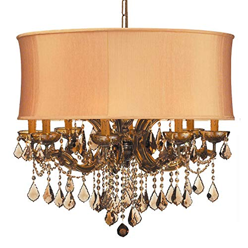 Brentwood Collection Twelve Light - Crystorama 4489-AB-SHG-GTM Crystal Accents 12 Light Chandelier from Brentwood collection in Brass-Antiquefinish,