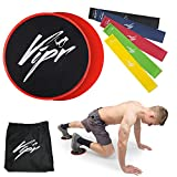 Core Sliders & 5 Resistance Loop Bands | Gliding Discs & Exercise Band Set for Intense, Beachbody Exercises | Professional 80 Day Obsession Equipment for Home & Gym | Build Strength & Flexibility