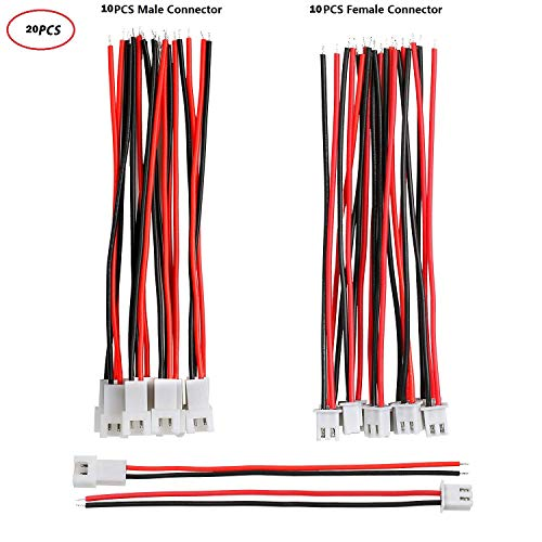 Letool 10 Pairs 1.25 mm JST 2 Pin Micro Electrical Male and Female Connector Plug with 80mm Wire Cables
