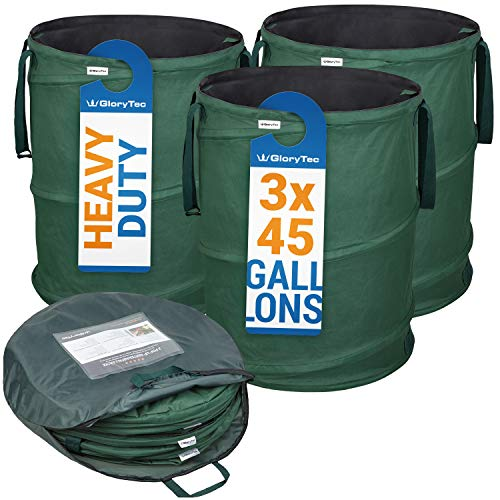 GloryTec 3-Pack Collapsible Garden Bag 45 Gallons Each - Heavy-Duty Gardening Container - Comparative-Winner 2018 - Reusable Trash Can for Leaf, Lawn and Yard Waste - Premium - Pop Garden Bag Up