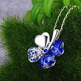 "Merdia Four Leaf Clover Heart-shaped Crystal Pendant Necklace 16"" + 5"" Extender(Dark-blue)"