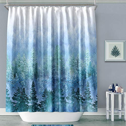 MACOFE Shower Curtain Fabric 71x71 Art Print Polyester Fabric,Waterproof, Machine Washable,Hooks Included,Bathroom Decoration Original Design Hand Drawing(Blue - 71 Art Print