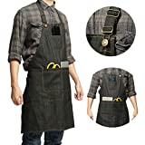 Heavy Duty Denim Jean Tool Apron with Pockets Waterproof Waxed Canvas Apron for Men and Women Adjustable Work Apron
