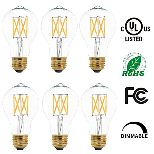 6 Pack LED Filament Edison Style Light Bulbs Dimmable A19 6W, 60W Equivalent E26 Base UL Listed 2700K Warm White (60w Edison Tubular Light Bulb compare prices)