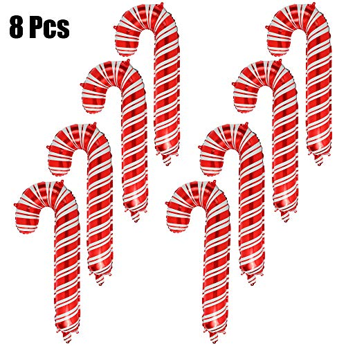 8 Pcs Christmas Candy Cane Foil Mylar Balloons Big Xmas Birthday Party Decoration Supplies Red and White]()