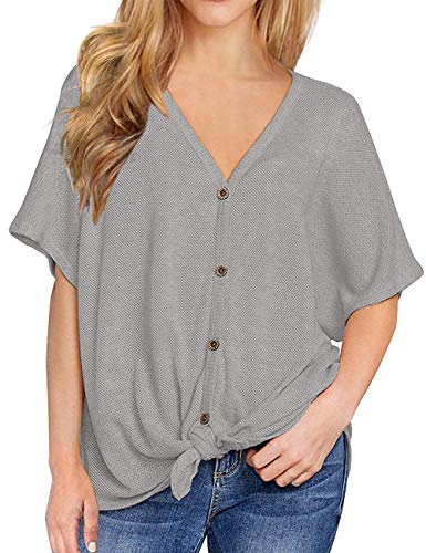 BAISHENGGT Waffle Knit Shirt Women, Womens Loose Blouse Short Sleeve V Neck Button Down T Shirts Tie Front Knot Casual Tops (X-Large, Grey)