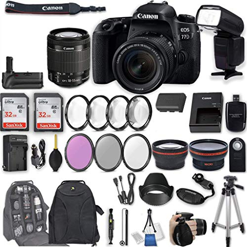 Canon EOS 77D DSLR Camera with EF-S 18-55mm f/4-5.6 IS STM Lens + 2Pcs 32GB Sandisk SD Memory + Automatic Flash + Battery Grip + Filter & Macro Kits + Backpack + 50