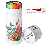 #10: 24 Dual Tip Brush Pens Art Markers, Fineliner Tip 0.4 mm & Watercolor Brush Tip Colored Pens Set for Coloring Books, Sketching, Bullet Journal, Art
