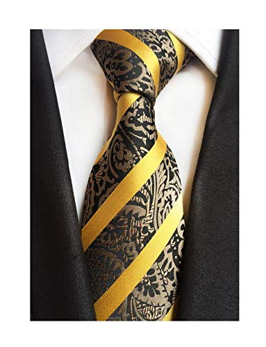 Mens Yellow Gold Stripe Suit Ties Silk Paisley Party Neckties for Father BF Gift