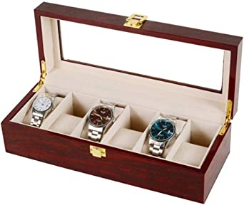 Asvert Caja para Relojes Estuche de Relojes Madera Organizador de Relojes Soporte de Exhibición para 6 Unidades Tapa de Vidrio, Rojo: Amazon.es: Hogar