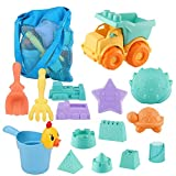 MINGPINHUIUS Beach Toys Toddlers Kids Beach Sand Toy Set with Dump Truck Duck Bucket and Mesh Bag Soft Plastic Material (15 pcs)