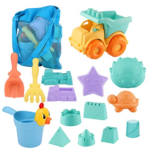 MINGPINHUIUS Toddlers Beach Toys Kids Beach Sand Toy Set with Dump Truck Duck Bucket and Mesh Bag Soft Plastic Material (13 pcs)
