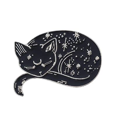 Magi gift Witch Cat Pins Black Cat Brooches Sleeping Cat Badges Witches