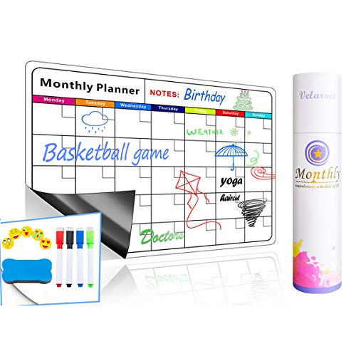Magnetic Dry Erase Calendar for Refrigerator: with Stain Resistant Technology -16.5x12-5 Emoji Magnets + 4 Color Markers + Large Eraser with Magnets : Monthly Whiteboard Wall &Fridge Organizer
