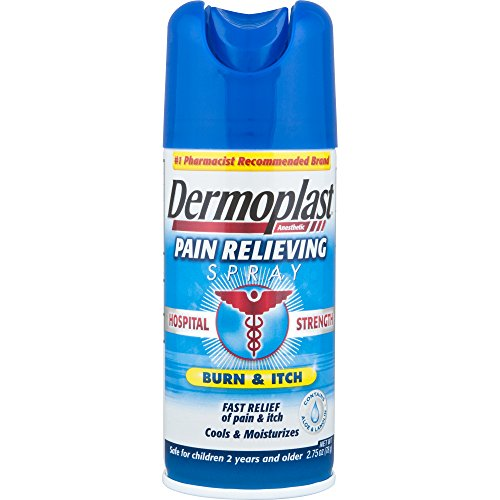 Dermoplast Hospital Strength Pain Relieving Spray for Minor Cuts, Burns, Scrapes, Insect Bites, Blisters, Sunburn, Minor Burns and Other Minor Skin Irritations, 20% Benzocaine, 0.05% Menthol. 2.75oz.