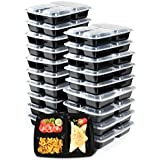 Mahlzeit Prep Containers [ 20 Pack ] 3 Compartment with Lids (36 Oz), Food Storage Bento Box | BPA Free | Stackable Reusable, Microwavable, Dishwasher, Freezer Safe, Portion Control by TriMaxShop